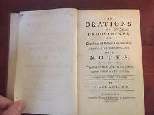 Scarce: Orations Demosthenes Vol 2 Public Deliberations Dinarchus 1763 Classics