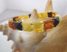 8mm Genuine Baltic Sea Square Faceted Pyramid Mixed Amber Stretch Bracelet 7 1/8