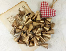 "50 pieces 2"" Triangle Small Brass Bell India Supplies Windchime Vintage Boho"