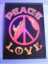 Vintage Psychedelic PEACE LOVE Blacklight Poster Hippie Universal Poster Co.