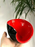 Vintage CZECH Blown ART Cased GLASS Dish BLACK & RED Mid-Century MODERN Bowl MCM