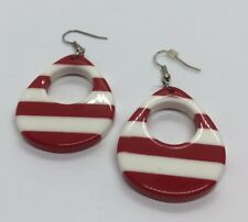 Vintage Earrings Lucite Dangle Striped Red White Hoops