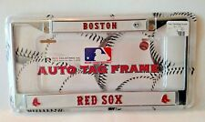 Brand New Sealed Boston Red Sox Plate Chrome Licence Plate Tag Frame 4 Car Auto