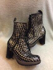Dr. Martens Women's  Darcie Diva Dancer 8 Eye Heel Boot Black Croco Uk 5 Us 7