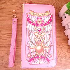 US Pink Zip Long Wallet Purse Cosplay Anime Card Captor Sakura The Clow Coin Bag