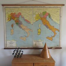 ORIGINAL VINTAGE MAP OF ITALY IN THE 15THc RENAISSANCE AND MODERN ITALY