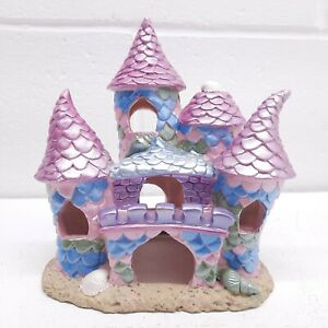 "Pink & Purple Aquarium Castle Polyresin 6.5"" Tall 6"" Wide"