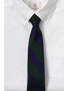 Lands End Kids Boys Size 7-12 (Med) Pre Tied Tie Evergreen/Classic Navy Stripe