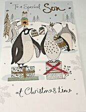 To a Special Son Christmas Card. Penguins Theme. Champagne Cards.