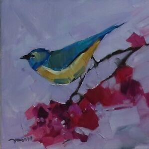 JOSE TRUJILLO 12x12 IMPRESSIONISM BIRD FLOWERS FLORAL SIGNED MODERN ART