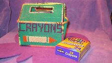 HANDMADE PLASTIC CANVAS CRAYON BOX-KELLY GREEN