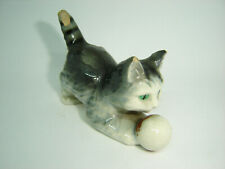 Vintage Foreign Porcelain Cat with Ball Ornament Figurine