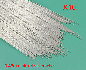 10 pack X 0.45mm diameter modellers nickel-silver wire - fits OO handrail knobs.