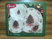 GIBSON - NOEL MORNING - 16 PC CHRISTMAS DINNER WARE SET PLATES BOWLS MUGS - NIB