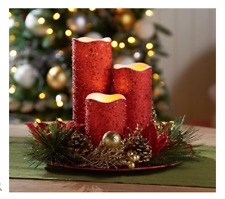 Set of 3 Flameless Candles with Charger & Ring by Valerie RED H208768