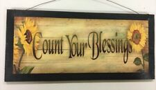 sunflowers count your blessings country kitchen wooden wall decor sign fall