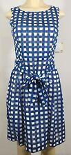 Anne Klein NEW Pleated Gingham Dress Blue Mariner 2 #159 MSRP $129.00