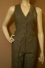 "Vtg 1970's ""Patty Woodard, Ca"" Gray Wool 2-piece Vest & Pants Suit size 9-10"