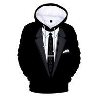 Women Men Suit 3D Pattern Print Long Sleeve Caps Sweatshirt Pullover Jumper Top