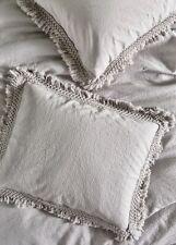 Anthropologie Standard Pillow Sham Dove Gray Matelasse Liora Fringe 1 Sham  NEW