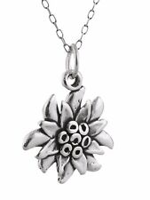 Edelweiss Flower Necklace - 925 Sterling Silver - Charm Plant Garden Gift NEW
