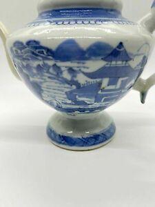 "6.5"" ANTIQUE 19th CENTURY CHINESE PORCELAIN BLUE WHITE CANTON TEAPOT QING"
