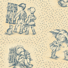 Henry Glass Little Darlings by Little Quilts 7669 11 Blue Toile  Cotton Fabric