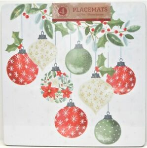 Set / 4 Benson Mills Cork Placemats Square Christmas Ornaments Holly