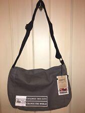 NWT Freeset 100% Organic Cotton Messenger Crossbody Grey Unisex Bag