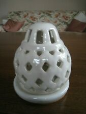 ATTRACTIVE WHITE CERAMIC TEA LIGHT LANTERN  : 5 INCHES HIGH