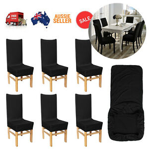 6x Stretched Dining Chair Cover Washable Removable Slipcover Dinning Cover Black