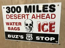 Route 66 Buz's StopPorcelain Gasoline Oil Advertising Sign No reserve