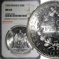 France Silver 1976 50 Francs NGC MS64 41mm Mint Luster KM# 941.1