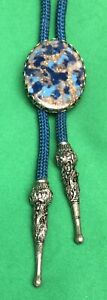 """Blue's and Gold Stone Bolo Blue Rope 30"""" Silver"""