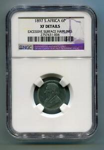 South Africa ZAR NGC Certified 1897 Kruger 6 Pence Coin XF Details