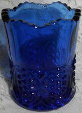 Blue Vaseline uranium glass toothpick / match holder H.B. pattern canary cobalt