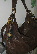 New JENRIGO of Italy Brown Snake Leather Convertible Hobo Shoulder Bag