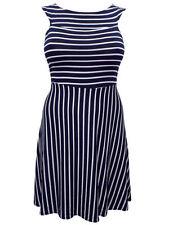 Viscose Boat Neck Skater Sleeveless Dresses for Women