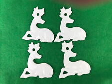 (4) Flat White Porcelain Deer Christmas Ornaments 3�H