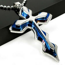 Unisex Cool Blue Biker Wave Cross Pendant Stainless Steel Necklace Accessories
