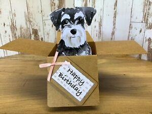 Schnauzer Dog Birthday card, 3D Pop Up  Box Card, Handmade