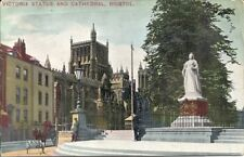 Old Printed  Postcard 'Victoria Statue and Cathedral, Bristol'.