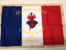 DRAPEAU Français Sacré Coeur De Jésus France Catholique Flag Bandiera Roi Lys