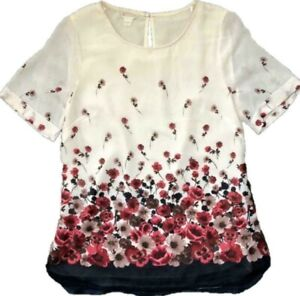 BN MONSOON LUCIA PLACEMENT PRINT BLUSH CREAM FLORAL LINED BLOUSE TOP SIZE 8~22