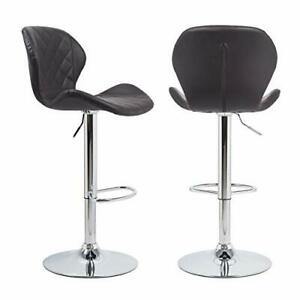 Bar Stools Set of 2 Deep Brown Luxury Bar Chairs Set with Backrest Soft Superior