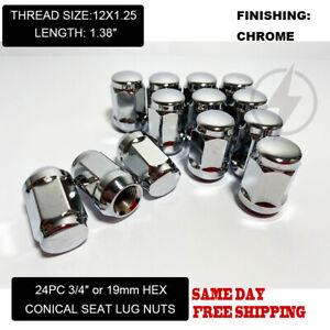 FIT SUZUK INFINI QX4 QX56 QX80 BUGLE ACORN LUG NUT CONE SEAT 12x1.25 CHROME 24PC