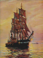 Sailing Ship & Ships, Sunset Bay, Salesman Sample Print 1940s
