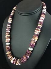 Native American Large Purple Spiny Oyster Turquoise Sterling Silver Necklace