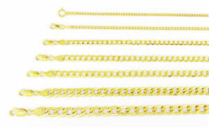 """Real 14K Yellow Gold 2mm-7.5mm Italian Cuban Link Curb Chain Necklace, 16""""- 30"""""""