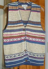 GINA PETERS Striped Fair Isle SWEATER VEST Beige Slate Blue Pink Wood Buttons M